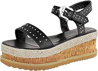 〓COOlCCI〓 Women's Platform Sandals Espadrille Wedge Ankle Strap Studded Open Toe Sandals Wedges Sandal Flats