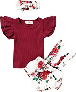 Infant Toddler Baby Girls Summer Clothes Sets Flare Sleeve T-Shirt Tops Floral Bowknot Strap Shorts Pants Headband Outfits