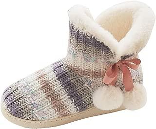 Leaf2you - Botas de felpa cálidas para mujer, para interiores, cómodas, de punto, de forro polar, antideslizantes, para el tobillo, para el hogar, Multicolor, 5-5.5, 1
