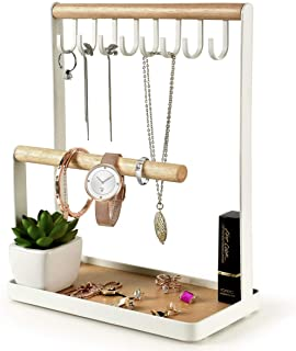 PAMANO Jewelry Stand Holder, 3-Tier Necklace Hanging Wooden Ring Organizer Earring Tray, 8 Hooks Storage Necklaces, Bracelets, Rings and Watches on Desk Tabletop- White
