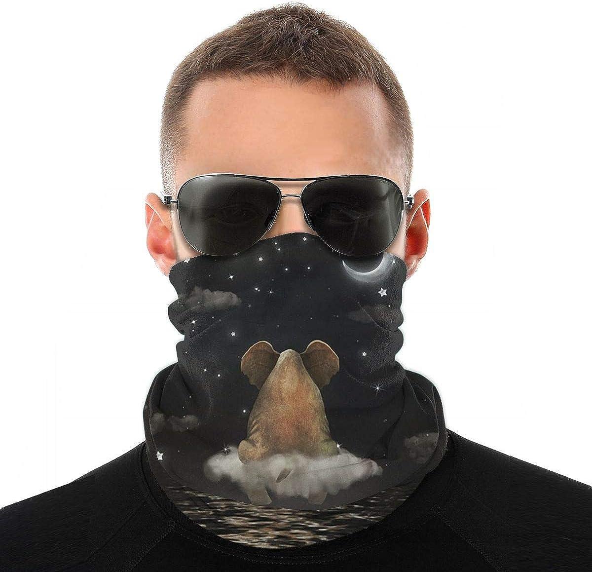 KiuLoam Bandanas Face Mask, Sad Elephant Sitting on Cloud In Night Sky Neck Gaiter Mask Headband for Men Women Face Scarf Dust, Outdoors, Sports