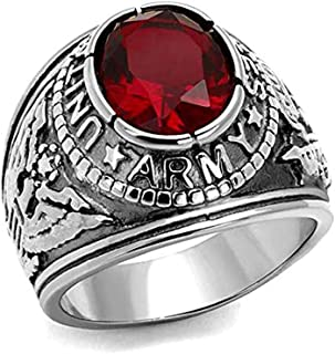 Military United States Army Ring (Stainless Steel w/Red Stone) U.S. Army Surplus Apparel. Uniform Veteran Ring - Decal Emblem Design