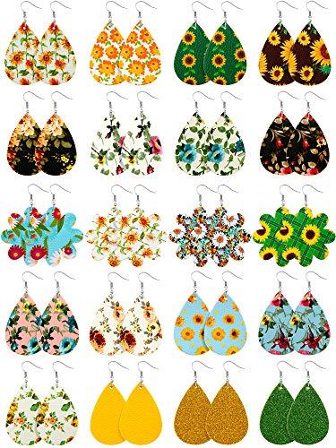 20 Pairs Faux Leather Teardrop Flower Earrings Floral Print Dangle Drop Earrings