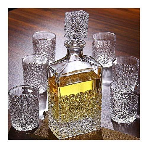 Decantador de whisky 7 piezas Decantador de whisky y gafas Set Decanter 850 ml y 6 gafas 320 ml 100% de vidrio sin plomo Whisky Decanter para licor escocés Borbón o vino vaso whisky RVTYR