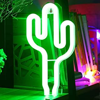 XIYUNTE Cactus Néon Enseignes Lèvre lumineuses Décoration murale, Batterie et USB alimenté vert Cactus Néons Applique mura...