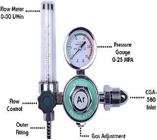 MOD Complete MDC99002 Argon Regulator With Flow meter TIG Welder MIG Welding CO2 Regulator 0 to 30 L/MIN 0-25 MPA Pressure Gauge CGA580 Inlet Connection Gas Welding Regulator Built-In Flow Meter