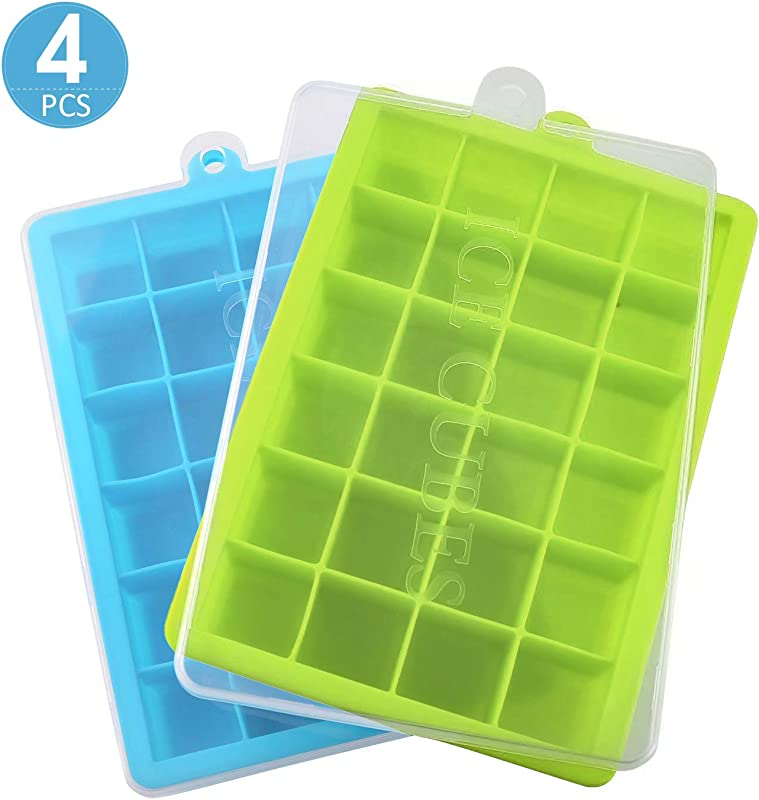 4 Pack Silicone Ice Cube Trays With Lid Easy Release Ice Cube Mold Containers Silicone Ice Cube Maker For Cocktail Whiskey 60 Shaped Cubes Each With Cover