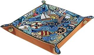 BestIdeas Panier de rangement carré 20,5 × 20,5 cm, avec motif de roue ondulée, style marin, boîte de rangement sur table ...
