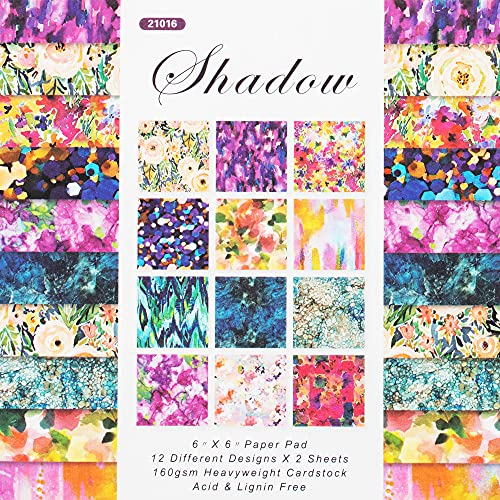 VONDYU Scrapbooking Paper,24 Sheets Designer Paper Pad Scrapbook Pages 6 x 6-Inch Single-Sided Watercolor Texture Patterned Paper Pack,Die Cuts Photo Backgrounds Decorative Art Paper for Card Making