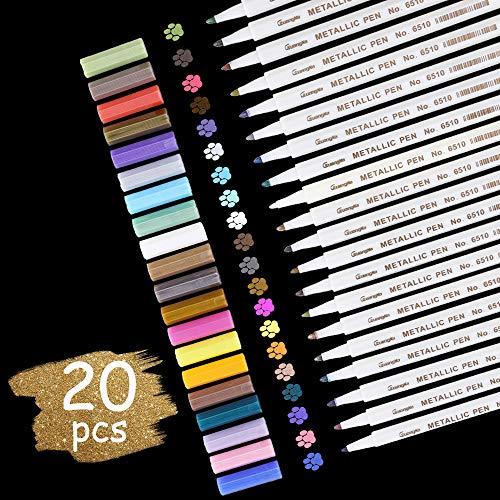 Vegena Metallic Marker Stifte, Acrylstifte 20 Farben Permanent Metallischen Stift Pens für DIY Fotoalbum Scrapbooking Kartenherstellung Gästebuch Hochzeit Papier Stein Glas Kunststoff - Spitze (1mm)