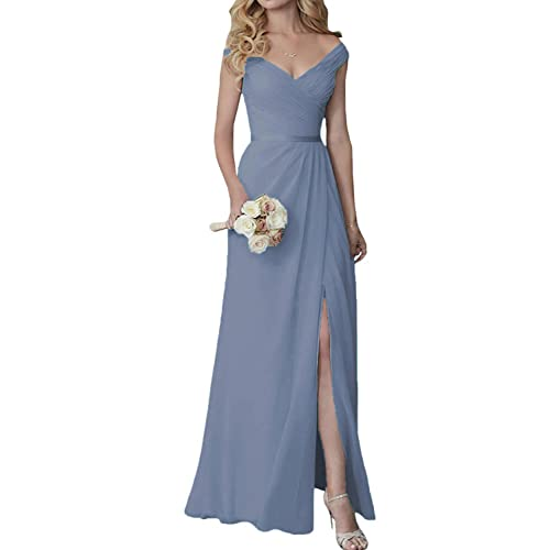 e3bf4474c57 Cute V-Neck Bridesmaid Dresses with Slit Long Chiffon Formal Dress