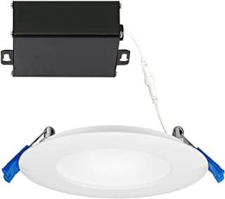 GetInLight Slim Dimmable 4 Inch LED Recessed Lighting, Round Ceiling Panel, Junction Box Included, 3000K(Soft White), 9W(45W Equivalent), 600lm, White Finished, cETLus Listed, IN-0303-2-WH-30