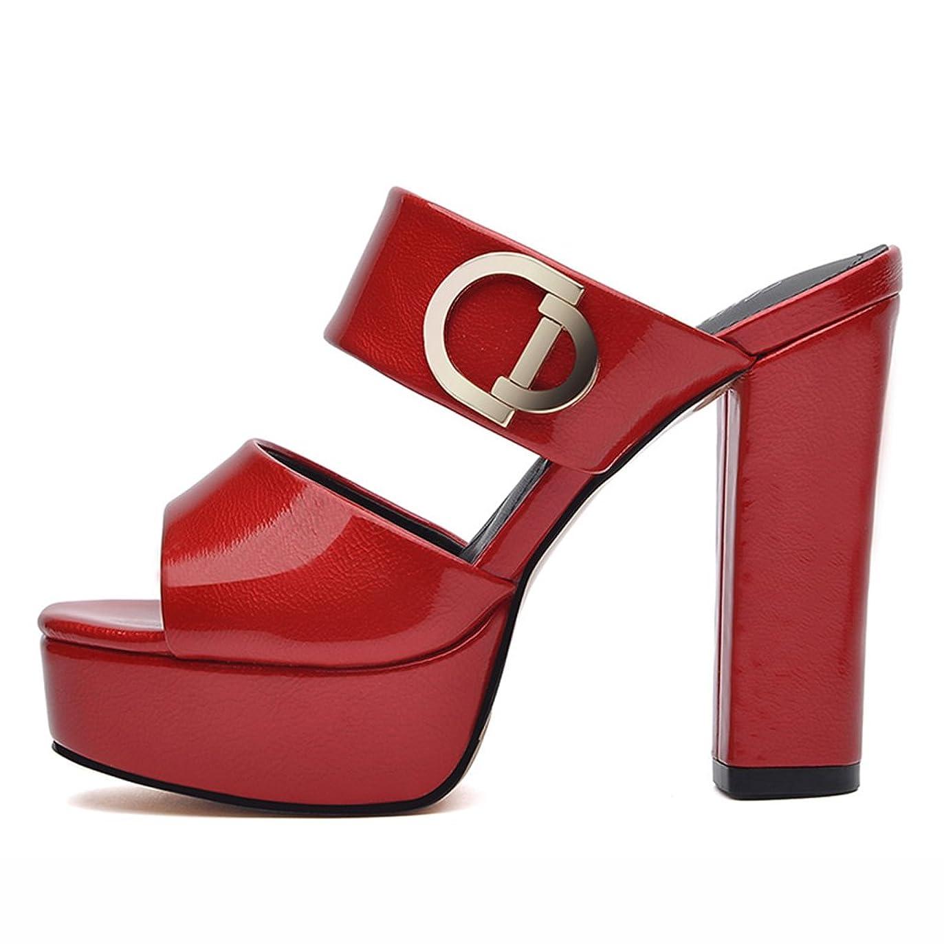 禁輸位置する手のひらHWF レディースシューズ サンダルスリッパファッションハイヒール女性夏の女性の靴Ms ( 色 : 赤 , サイズ さいず : 37 )