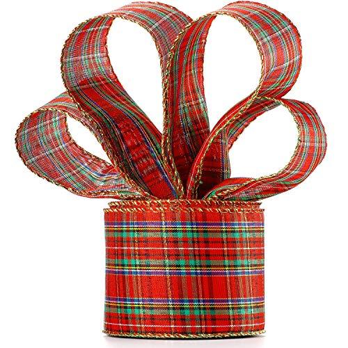 6,3 cm in Breite Rot und Grün Plaid Sackleinen Band Gingan Verpackung Band mit Spule, Weihnachten Buffalo Plaid Band für Weihnachten Dekoration Geschenk Verpackung Party Dekoration (10 Meter Lang)