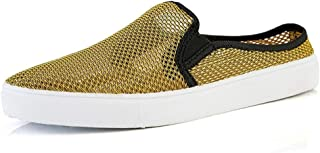 Shangruiqi Athletic Shoes for Men Sports Shoes Slip On Style Mesh Material Hollow Lightweight Flexible Convenient Half Gragged Anti-Wear (Color : Yellow, Size : 8.5 UK)