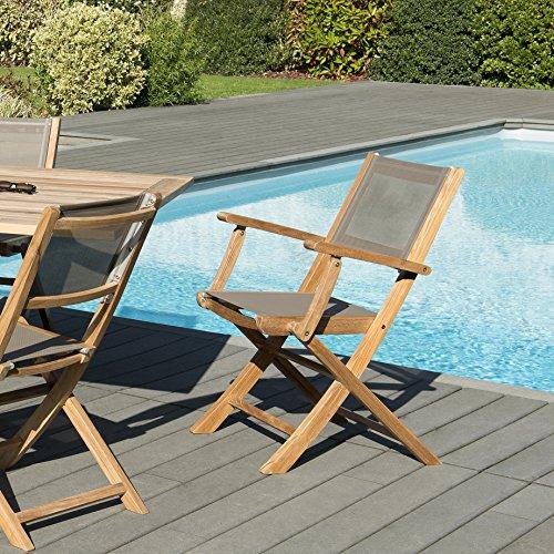 MACABANE 501216 Lot de 2 fauteuils pliants textilène Couleur Naturel et Taupe en Teck et Textilène Dimension 56cm X 64cm X 88cm