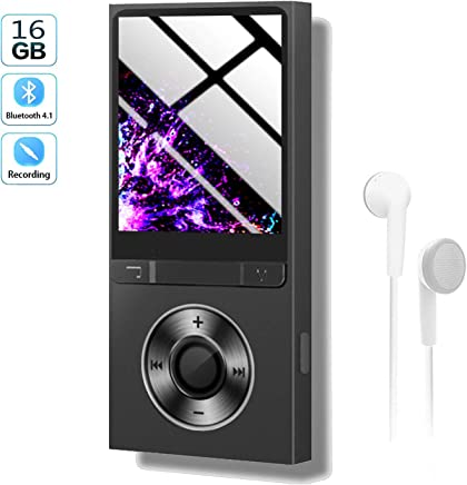 $27 Get Mp3 Player with Bluetooth 16GB,Upgraded Lossless Sound Sport Music Player with FM Radio/Voice Recorde/E-Book/Photo Viewer,Expandable Up to 128GB
