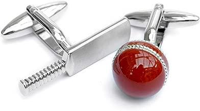 Men's Executive Silver Tone Cricket Bat and Red Enamel Ball Sports Cufflinks Cuff Links