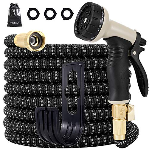 LOOHUU Expandable Garden Hose,Water Hose with 10 Function Spray Nozzle and Durable 3-Layers Latex, Lightweight Flexible Hose with Solid Brass Fittings, Best Choice for Watering and Washing(25FT)