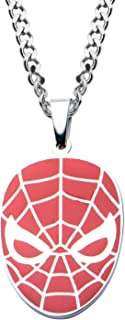 Men's Stainless Steel Spider-Man Red Face Pendant with Chain Necklace, 22