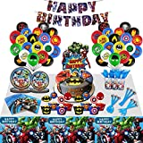 SUPERHERO Party Supplies- Large Plates, cake plates, Napkins, Tablecloth,Balloons,Cups, Cake Topper- Great Decorative Birthday Set
