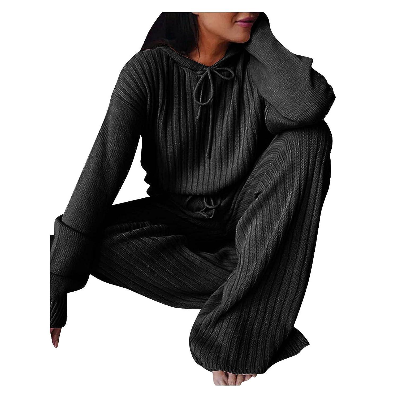 Padaleks Women's Loose Solid Long Sleeve Knitted Hooded Tops Trousers Loose Fit Fall Knitwear Wide Leg Pants Set