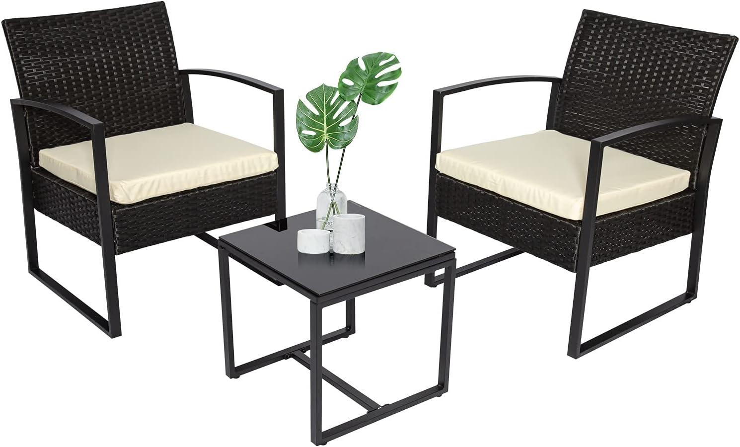 3 Pieces Bistro Kansas City Mall Set Genuine Patio Modern Furniture Rattan Chair Conversa