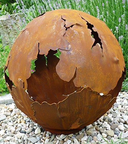 Riss Kugel 30cm Ø Edelrost Rost Gartendeko Dekokugel Garten Metall Weltkugel Kugel mit Rissen Feuerkugel