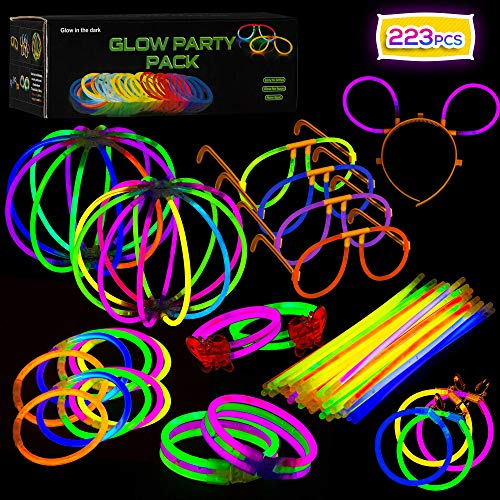 223-teiliges Set Knicklichter zum Basteln von Armbändern und Partydekoration - Leuchtstäbe Set - Party Box mit viel Zubehör