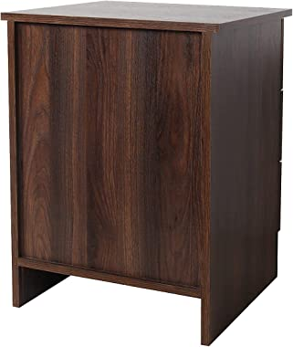 TaoHFE Bedroom Nightstands with 2 Drawers,Bedside Table end Table with Open Shelf,Walnut