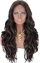 Kalyss Curly Wavy Synthetic Lace Hair Wigs with Baby Hair for Women Black Brown Highlights Lightweight 100% Hand-Tied Lace Middle Parting Natural Looking Lace Hair Wigs for Women