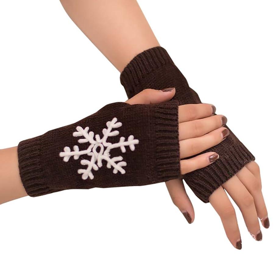 WUAI Womens Gloves Fingerless Christmas Snowflake Pattern Knitted Arm Fingerless Warm Winter Gloves Soft Warm Mitten