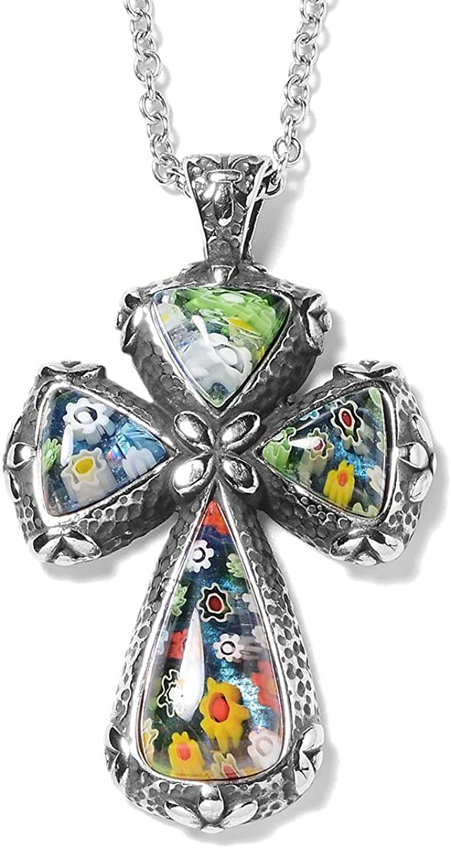 Shop LC Multi Color Murano Millefiori Glass Black Oxidized Stainless Steel Holy Prayer Religious Fashion Love Cross Chain Pendant Necklace Delicate Jewelry Gifts for Women 20