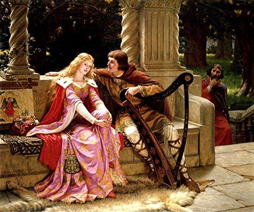O Fim da Música Tristão e Isolda Amor Trágico entre Cavaleiro e Princesa 1902 Pintura de Edmund Leighton na Tela em Vários Tamanhos (68 cm X 55 cm tamanho da imagem)