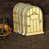 Placas de madera cortadas a láser en forma de puertas de elfo 10 unidades.