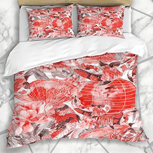 Juegos de Fundas nórdicas Artístico Rosa Patrón asiático Carpa Tokio Acuarela Flor de Asia Diseño de Peces exóticos Ropa de Cama de Microfibra Adornada con 2 Fundas de Almohada Cui