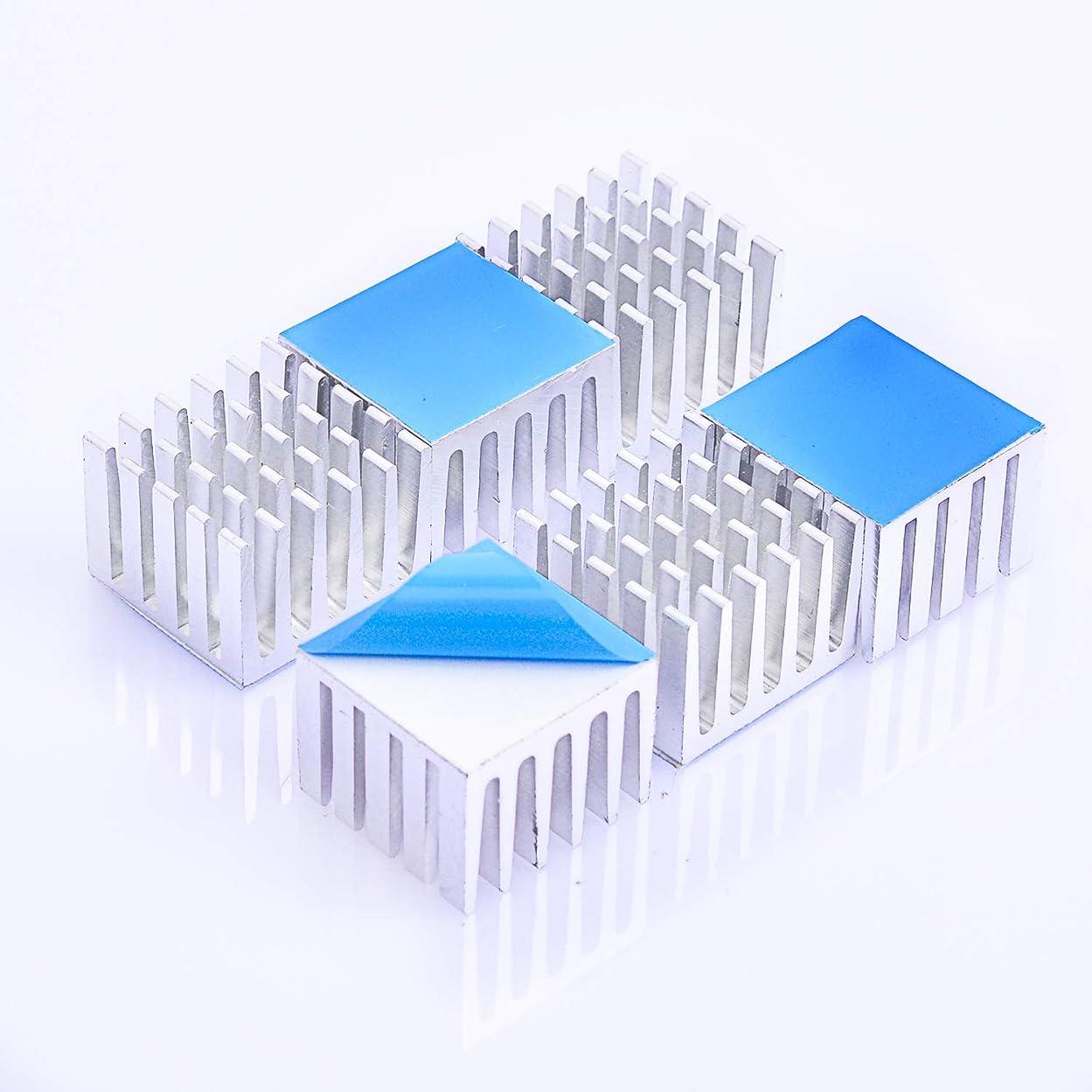 ラバ盟主些細ヒートシンク 熱伝導性両面テープ付き 熱暴走対策 20mm X 21mm X 15mm 6個入り 冷却フィン アルミニウム製 放熱板 M2.SSD ファイア テレビ DIYキット ICチップ MOSFET 回路基板 ハイパワーLEDアンプに適用
