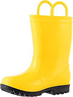 ALLENSKY Kids Rain Boots with Easy-on Handles for Little Kids & Toddler Boys Waterproof Rain Boots