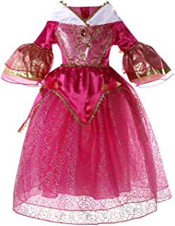Little Girls Princess Dress Sleeping Beauty Princess Halloween Children Dress Cosplay Costume Bubble Hem Party Dress (5-6 ...