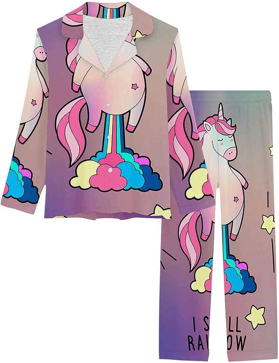 InterestPrint Long Sleeve Nightwear Button Down Loungewear for Women Magic Unicorn