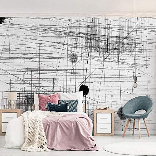 Awttmua Papel Tapiz Fotográfico Moda Moderna Resumen Líneas Blancas Y Negras Puntos Arte Creativo Mural Papel Tapiz Sala De Estar Decoración Del Hogar 250cmx175cm