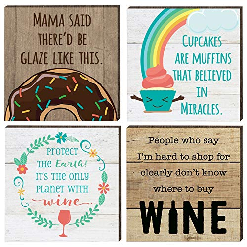 Farmhouse Refrigerator Magnets | 4 Rustic Design Farm Theme Funny Magnet Set | for Fridge, Dishwasher, Magnetic Kitchen Whiteboard | Donut, Wine, Cupcake Sayings