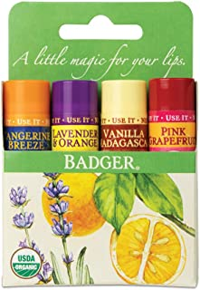 product image for Badger - Classic Lip Balm Green Box, Tangerine Breeze, Lavender & Orange, Vanilla Madagascar, Pink Grapefruit, Certified Organic, 0.15 oz (4 Pack)