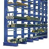 EUROKRAFTpro Kragarmregal-Ständer | Langgutregal-Ständer, Profilbreite x Tiefe 100 x 175 mm, Ständerhöhe 2500 mm, lichtgrau RAL 7035, Fußlänge 1000 mm