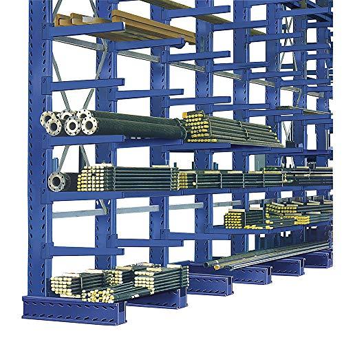 EUROKRAFTpro Kragarmregal-Ständer  Regal  Langgutregal   Stangenregal  Ständerhöhe 3000 mm Fußlänge 1250 mm Profilbreite x Tiefe 100 x 200 mm resedagrün RAL 6011