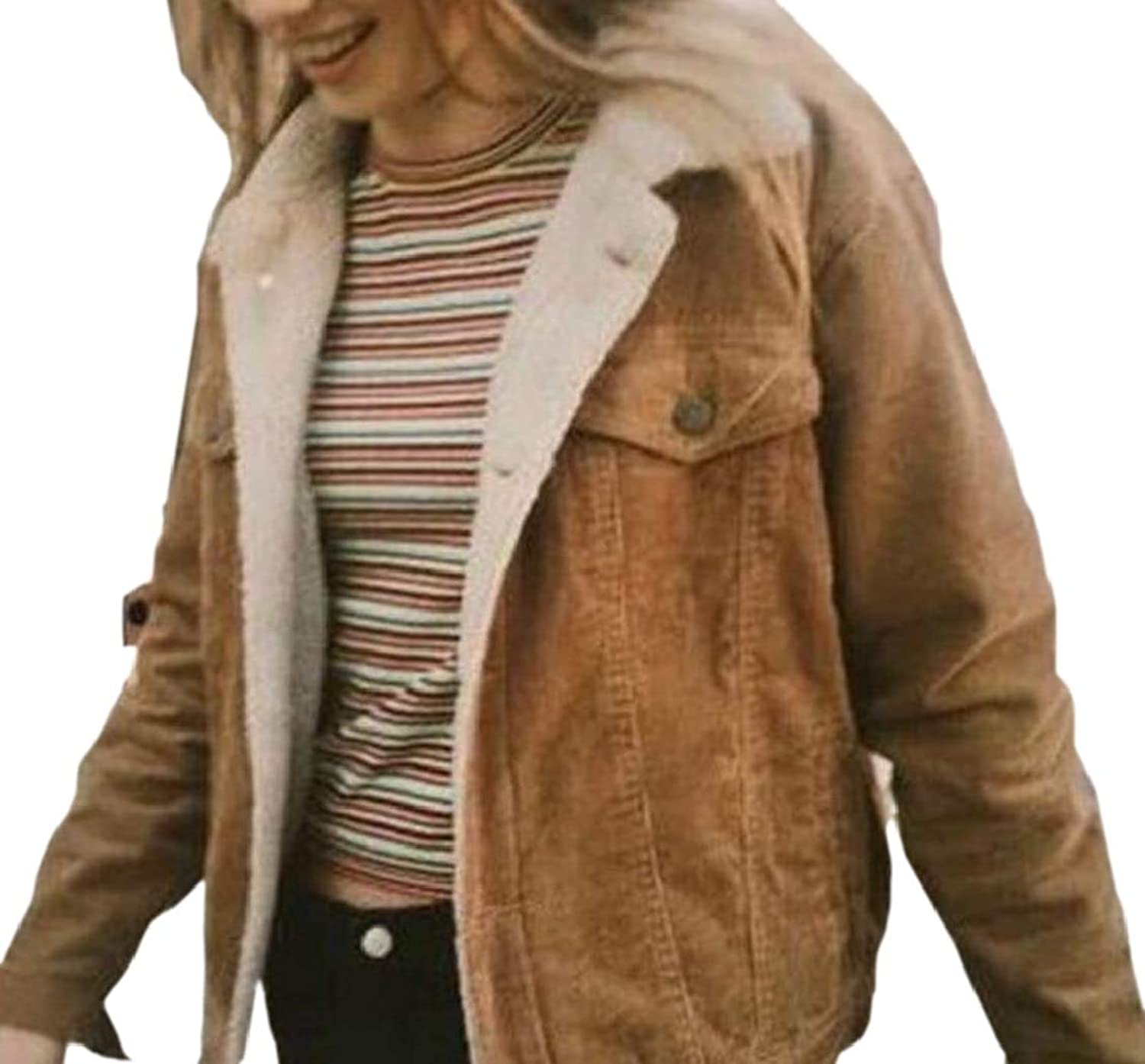 TDCACA Women's Winter Corduroy Quiled Coat Lamb Pure color Lined Thick Parka