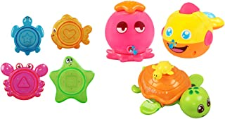 Toyvian Stacking Bathing Toy Funny Animal Bathtub Water Game Toy for Kids Toddler 7pcs