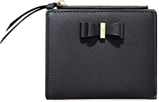 CLUCI Leather Wallets for Women Small Slim Credit Card Holder Ladies Compact Coins Zipper Pocket with Tassel Black