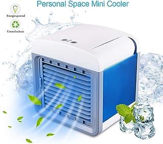 STLOVE - Aire acondicionado portátil con puerto USB y función 3 en 1, humidificador y purificador de aire, ventilador de mesa para oficina, hotel, garaje, casa, etc.