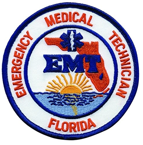 "FLORIDA EMERGENCY MEDICAL TECHNICIAN - Shoulder Patch, EMT Star of Life, Royal Blue Border, 4"" Circle, FL emt ems emergency patch badge logo costume paramedic nurse - Sold by UNIFORM WORLD"
